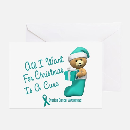Bear In Stocking 1 (Ovarian Cancer) Greeting Cards