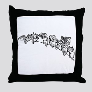 Owls in Tree Throw Pillow