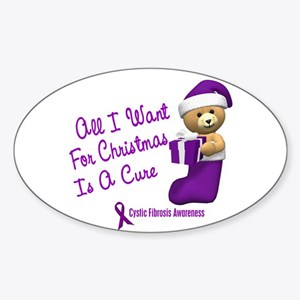 Bear In Stocking 1 (Cystic Fibrosis) Sticker (Oval
