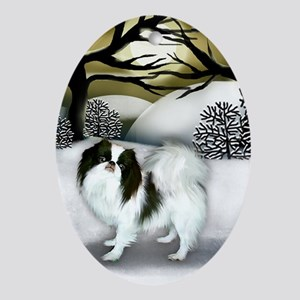 JAPANESE CHIN DOG WINTER SUNSET Oval Ornament