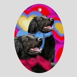 FLAT COATED RETRIEVER DOGS LOVE Oval Ornament