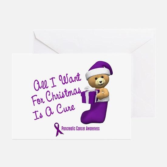 Bear In Stocking 1 (Pancreatic Cancer) Greeting Ca