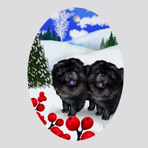 BLACK CHOW CHOW DOGS WINTER BERRY Oval Ornament
