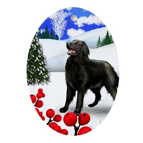 FLAT COATED RETRIEVER DOG WINTER Oval Ornament