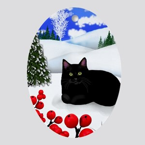 BLACK CAT WINTER BERRIES Oval Ornament