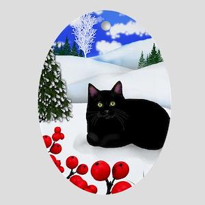 BLACK CAT WINTER BERRIES Oval Ornament