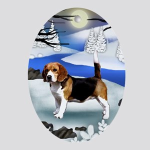 BEAGLE DOG FROZEN RIVER Oval Ornament