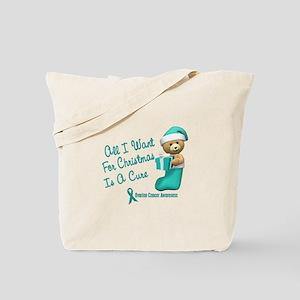 Bear In Stocking 1 (Cervical Cancer) Tote Bag