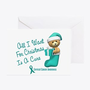 Bear In Stocking 1 (Cervical Cancer) Greeting Card