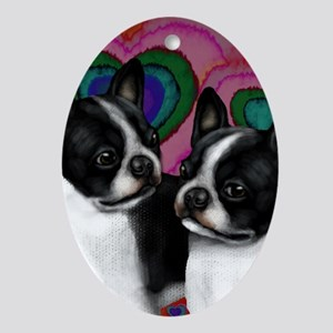 BOSTON TERRIER DOGS LOVE HEARTS Oval Ornament
