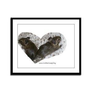 Baby Degu Love Framed Panel Print