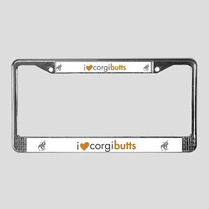 I Heart Corgi Butts - Blue Merle License Plate Fra