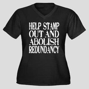 Stamp Out Redundancy Women's Plus Size V-Neck Dark