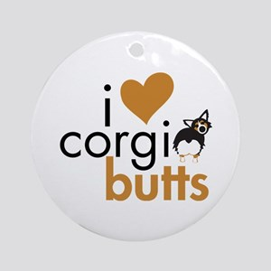 I Heart Corgi Butts - BHT Fluffy Ornament (Round)