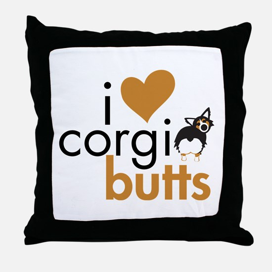 I Heart Corgi Butts - BHT Fluffy Throw Pillow