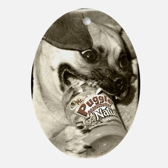 Puggle Peanut Butter Oval Ornament