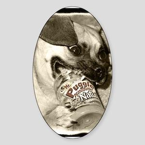 Puggle Peanut Butter Oval Sticker