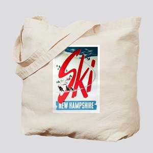 Retro Ski Skier Skiing Tote Bag