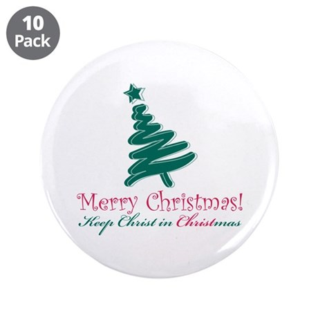 """Merry Christmas tree 3.5"""" Button (10 pack)"""