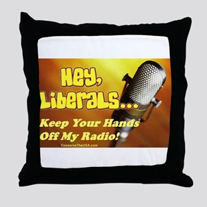 """Hands Off My Radio"" Throw Pillow"
