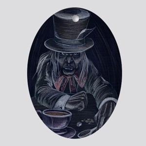 Mad Hatter in Black Oval Ornament