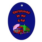 Christmas In My Cab Trucker Oval Ornament