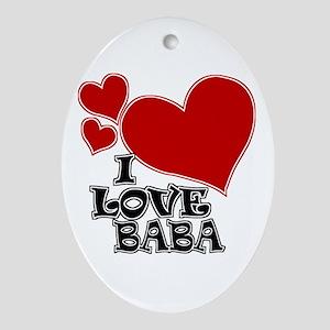 I Love Baba Oval Ornament