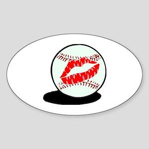 Baseball (Kiss) Oval Sticker