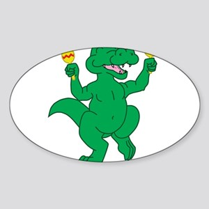 Dancing Gator Oval Sticker