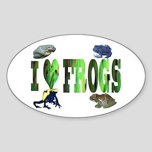 heart frogs Oval Sticker
