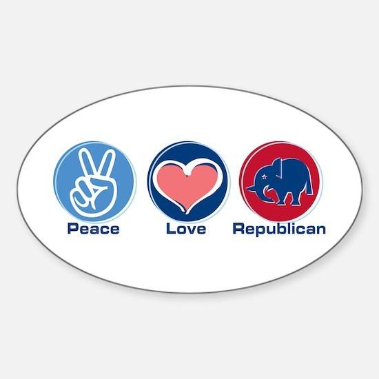 Peace Love Republican Oval Decal