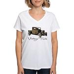 Vintage Truck- Women's V-Neck T-Shirt
