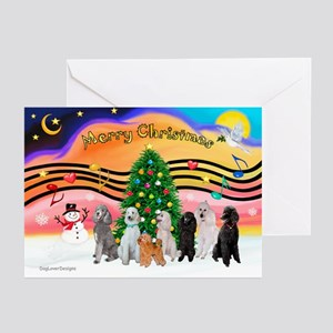 XmasMusic2 / 7 Poodles Greeting Cards (Pk of 10)
