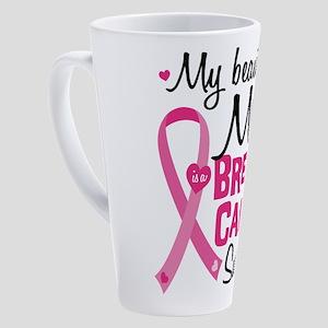 Mom Breast Cancer 17 oz Latte Mug