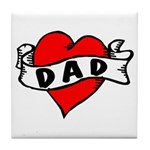 "Vintage Tattoo ""I Love Dad!"" Tile Coaste"