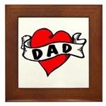 "Vintage Tattoo ""I love Dad"" Framed Tile"