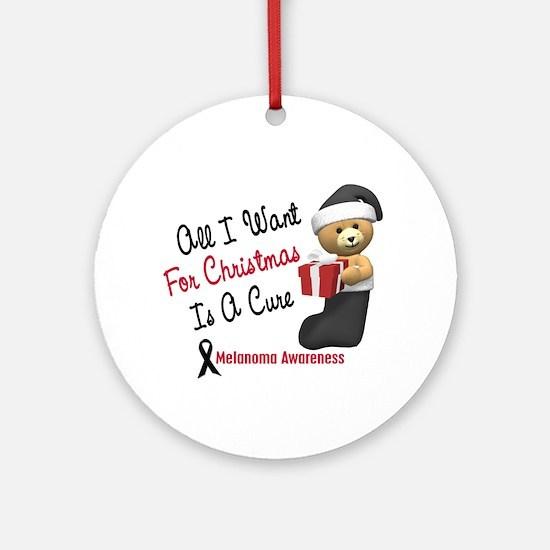 Bear In Stocking 1 (Melanoma) Ornament (Round)