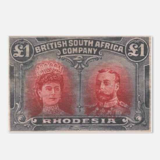 Rhodesia KGV Double Heads One Pound Postcards x8