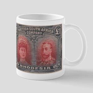 Rhodesia KGV Double Heads One Pound Mug
