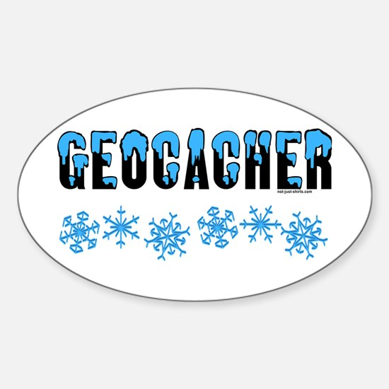 Snow Capped Geocacher Oval Decal
