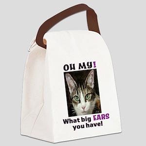 Big-eared cat, pretty tabby cat Canvas Lunch Bag