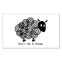Don't Be A Sheep Rectangle Sticker 10 pk)
