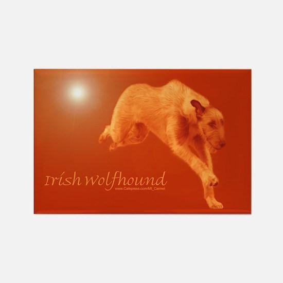 Red Irish Wolfhound Running Rectangle Magnet