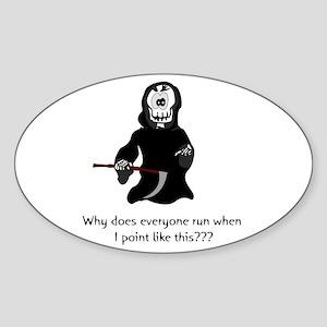 Funny Grim Reaper Oval Sticker