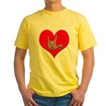 Mom and Baby ILY in Heart Yellow T-Shirt