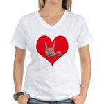 Mom and Baby ILY in Heart Women's V-Neck T-Shirt