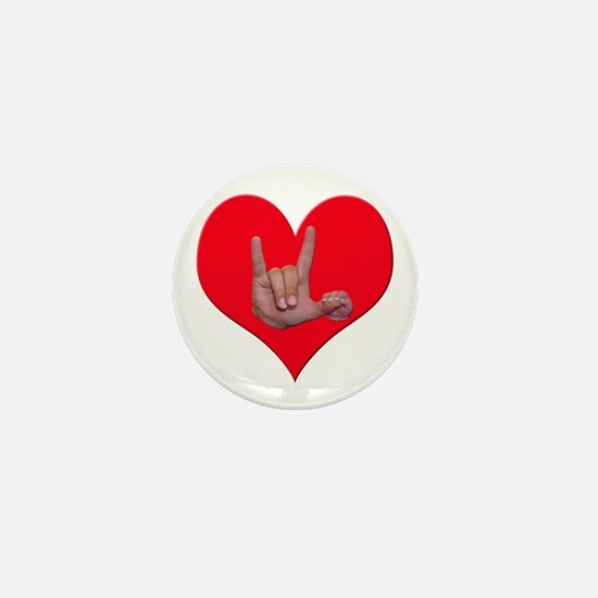 Mom and Baby ILY in Heart Mini Button