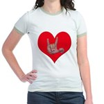 Mom and Baby ILY in Heart Jr. Ringer T-Shirt