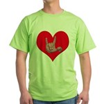 Mom and Baby ILY in Heart Green T-Shirt