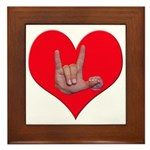 Mom and Baby ILY in Heart Framed Tile